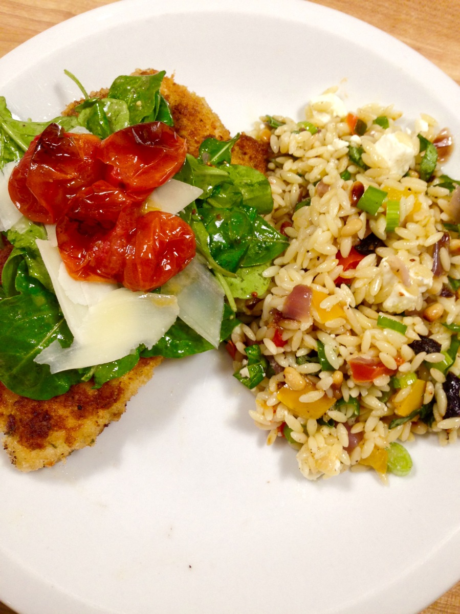 Parmesan Chicken With Roasted Tomatoes And Arugula